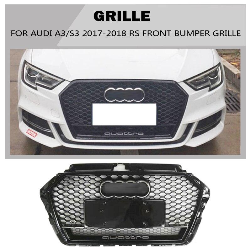 A3 S3 Sline Grille black Emblem Front Bumper mesh Radiator Grille For Audi A3 S3 2017~2018 S Line car styling