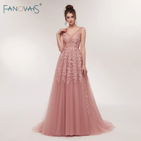Sexy Evening Dresses Long 2018 V Neck Prom Dresses Luxury Floral Beaded Evening Gown for Women Vestidos de Fiesta ASAE07