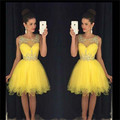 Sexy Yellow Elegant Cocktail Dresses 2016 Knee Length Rhinestones Beaded Vestido De Festa A Line Short Party Dress