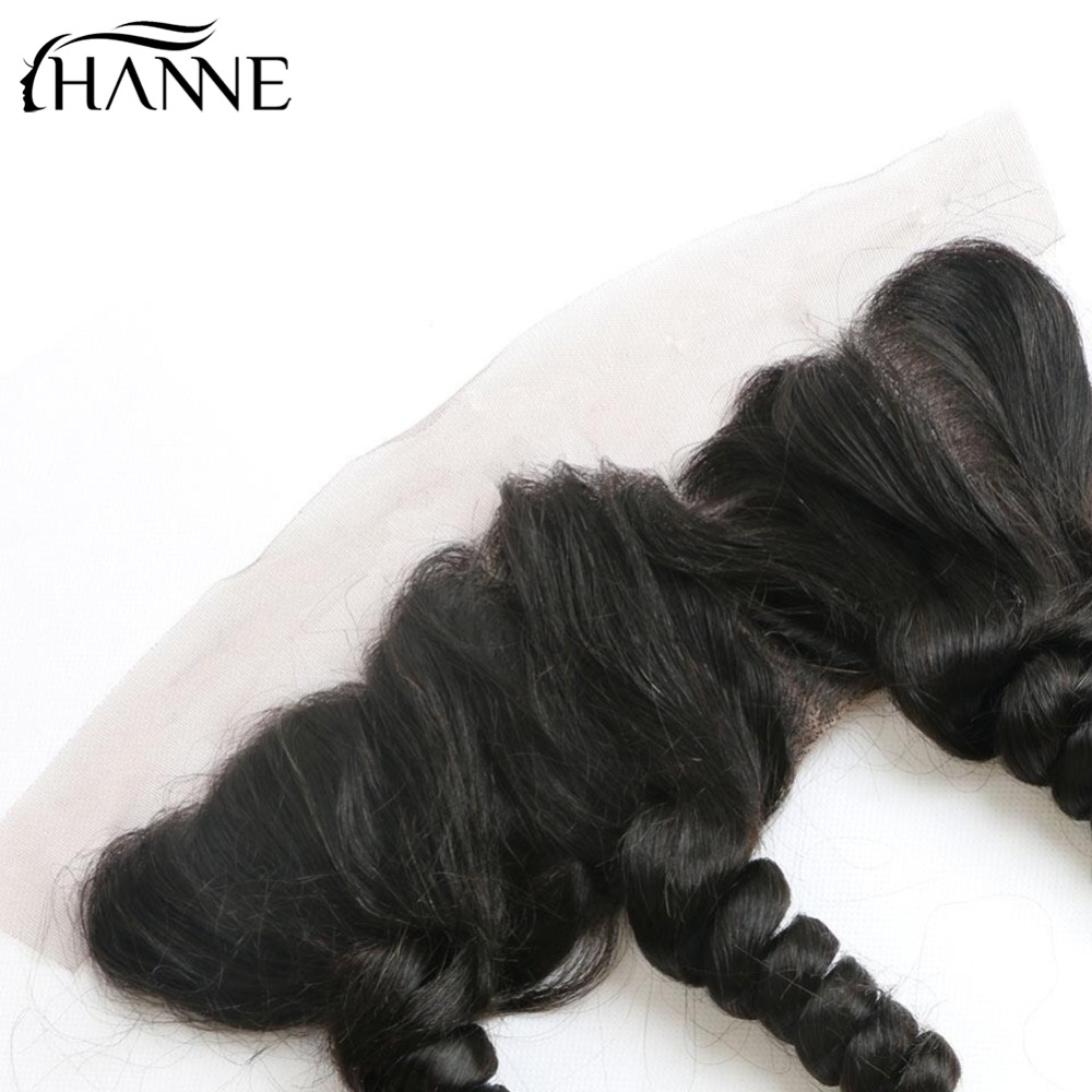 HANNE Hair Indian Loose Wave Human Frontal Bleached Knot Virgin Remy Human Hair Invisible Part Lace Closure Piece For Women