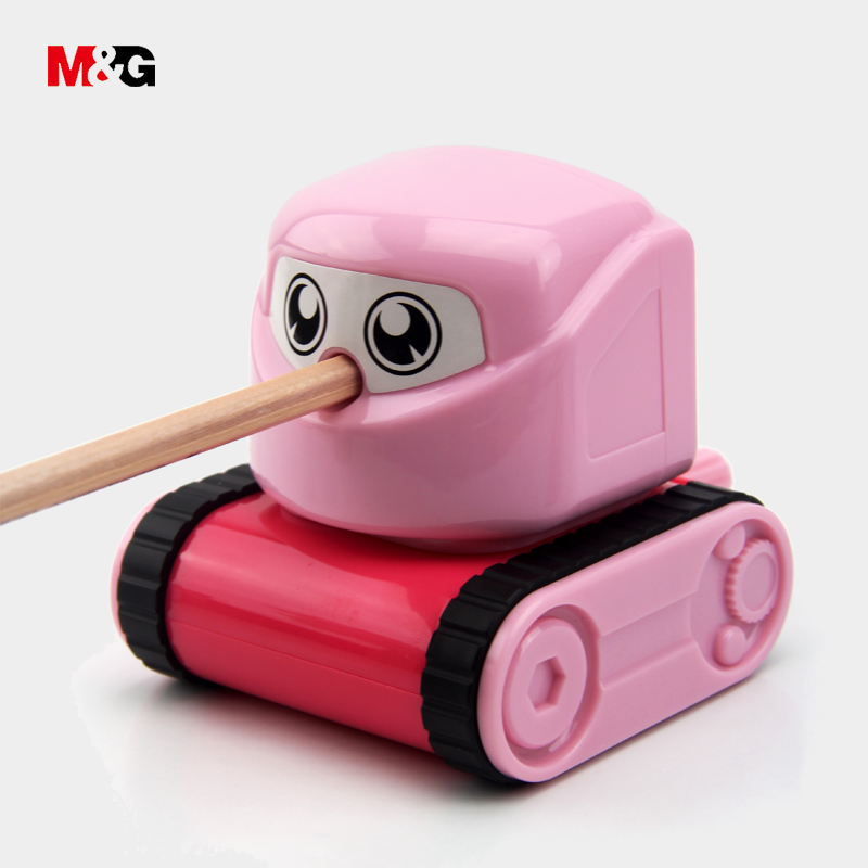 M&G quality cute tank shape mechanical pencil sharpener for school supplies kawaii hand sharpener cartoon gift office stationery deli cute stationery thomas mechanical pencil sharpener train friends give child a learning gift good quality school stationery