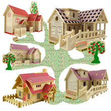 DIY Wooden Building Blocks Manual Assembly Toys 3D Model House Educational Toys for Kids