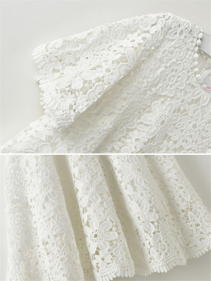 Summer Casual Half Sleeve Girl Lace Dress White Floral Pattern O-Neck - Children's Clothing - Photo 4