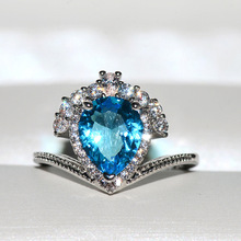 Big Blue Heart Zircon Stone Silver Ring for Women Wedding Engagement Rings Fashion Jewelry New