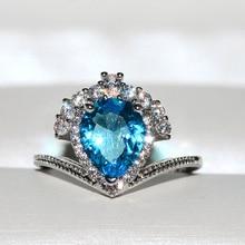 цена на Big Blue Heart Zircon Stone Silver Ring for Women Wedding Engagement Rings Fashion Jewelry New
