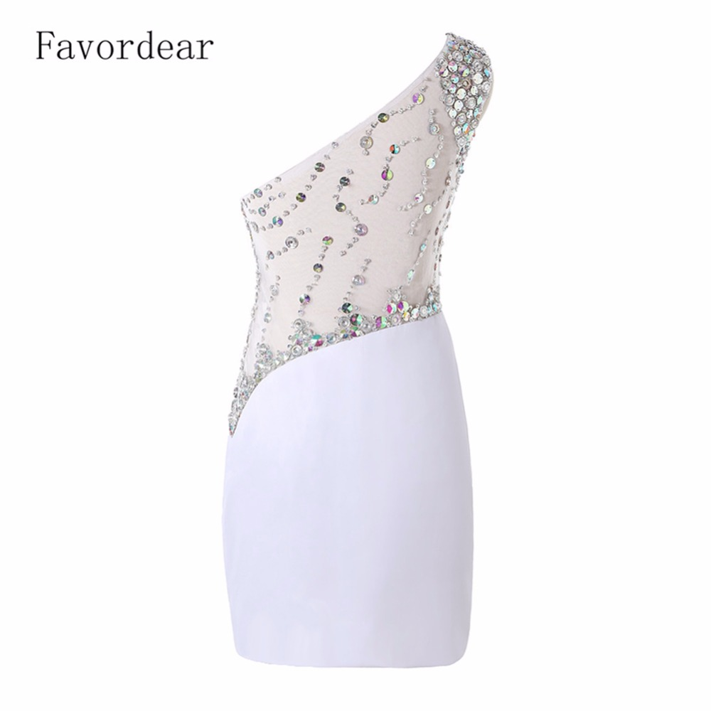 Favorder See Through Sheer Illusion Back Mini Homecoming Dress Rhinestones  Crystal White One Shoulder Straight Cocktail Dresses-in Cocktail Dresses  from ... 8ae819541206