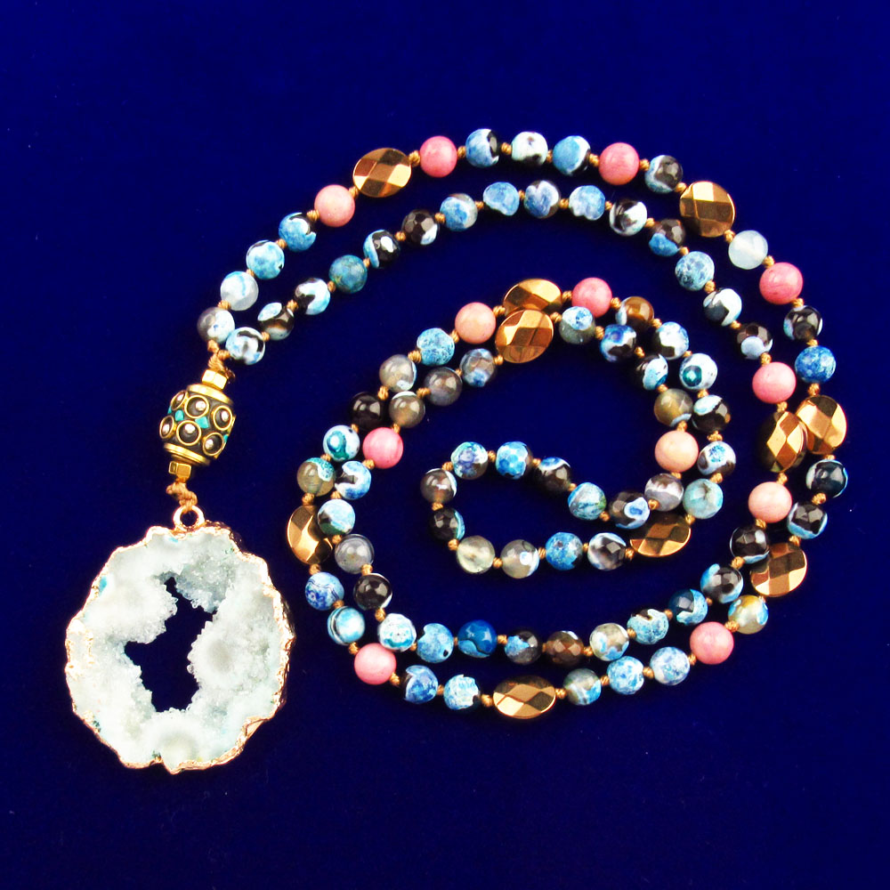 YUTENG Mixed Natural Stone Onyx Stones With Druzy Nepal Pendant Necklace Handmade Gilded Drusy Women Necklace LL822