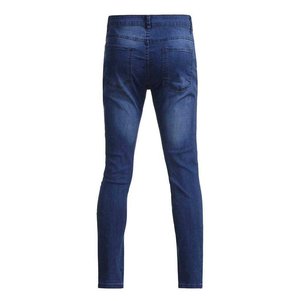 Hot High Quality Casual Fashion Men/'s Autumn Denim Cotton Straight Hole Pocket Trousers Distressed Jeans Pants Men Pants Jean