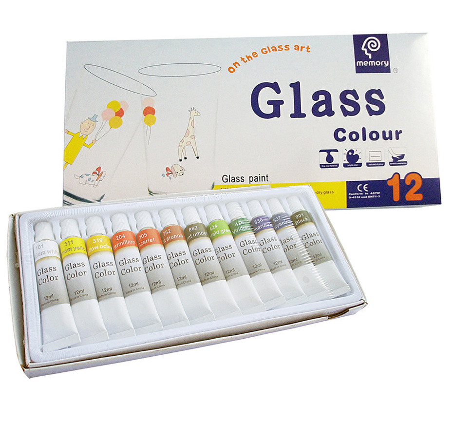 glass painting pigments 12pcs 12colours glass colour