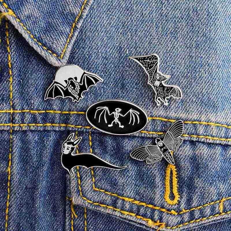 Мультяшные животные панк готический летучие мыши пчела эмалированные булавки темная брошь с дизайном «скелет» джинсовая куртка рубашка значок на лацкан значок для женщин мужчин и детей