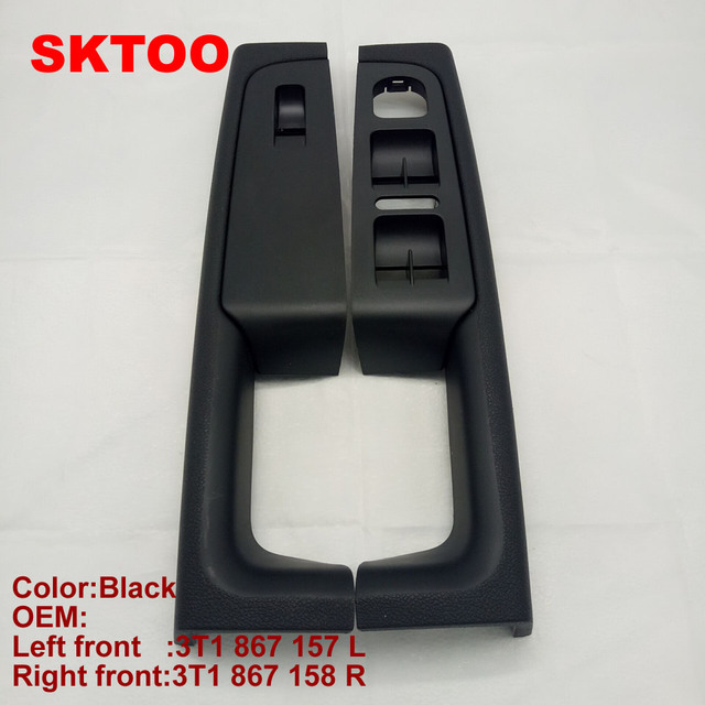 SKTOO For Skoda Superb door handle front left and right door armrest box inner handle frame, the lifter switch box black
