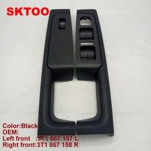 Sktoo para skoda superb maçaneta da porta frente esquerda e direita caixa de apoio de braço interior do punho quadro, a caixa de interruptor levantador preto