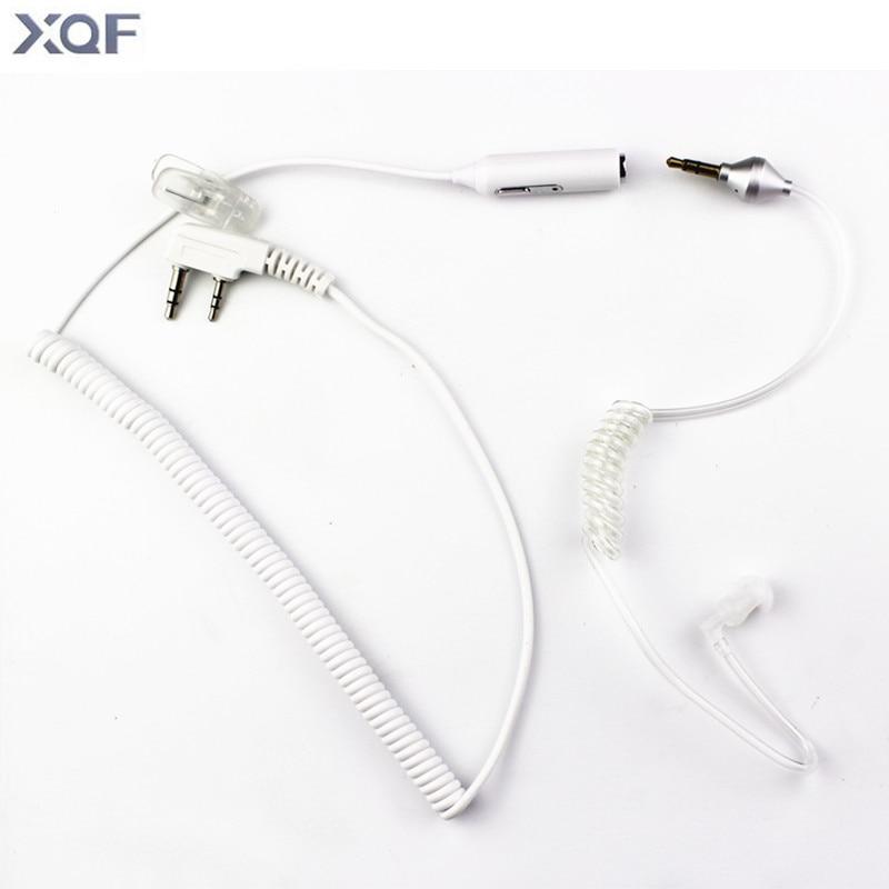 2 In 1 K Plug Flexible Acoustic Tube PTT MIC 2pin Earpiece Headset For Kenwood Baofeng TYT WONXUN Radio 3.5mm For Moblie Phone