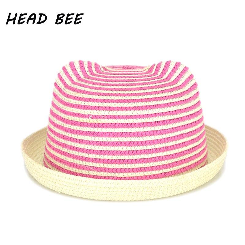 Head Bee  2018 nueva moda raya Beach Floppy Sol tapa sombrero de paja  orejas de dibujos animados sombreros de verano para niños niñas Niños  Panamá niños dff4e6d83624