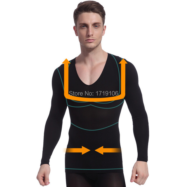 f70508d121f6c Mens Quick Dry Tummy Belly Buster Long Sleeve Posture Correction Shirt  Control Fat Burn Slimming Body Shapers Nylon Spandex