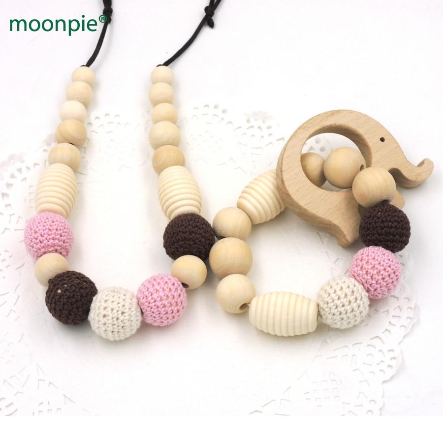 Ювелірні вироби ручної роботи намисто з бука та слонів бука дерев'яний простішек органічний дитячий малюк прорізування зубів намисто ENS50  t