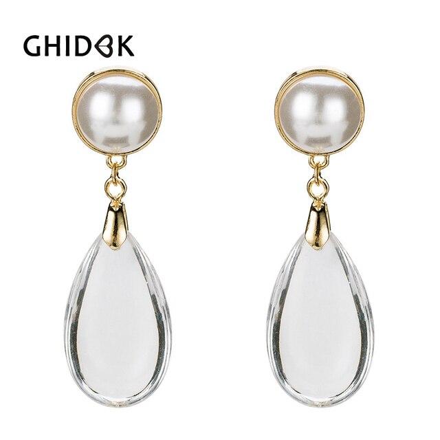 GHIDBK 2018 Clean Acrylic Water Drop Dangle Earrings for Women Vintage  Transparent Big Earrings Statement Pearl a93d3ee5171d