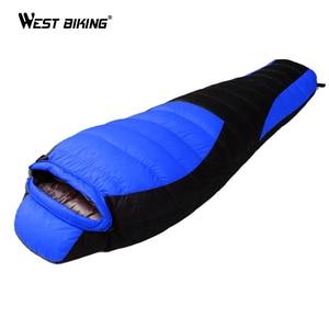 Image 2 - WEST BIKING Ultralight Mummy Sleeping Bag Winter Autumn Lengthened Thicken Camping Splicing White Duck Down Single Sleeping Bag