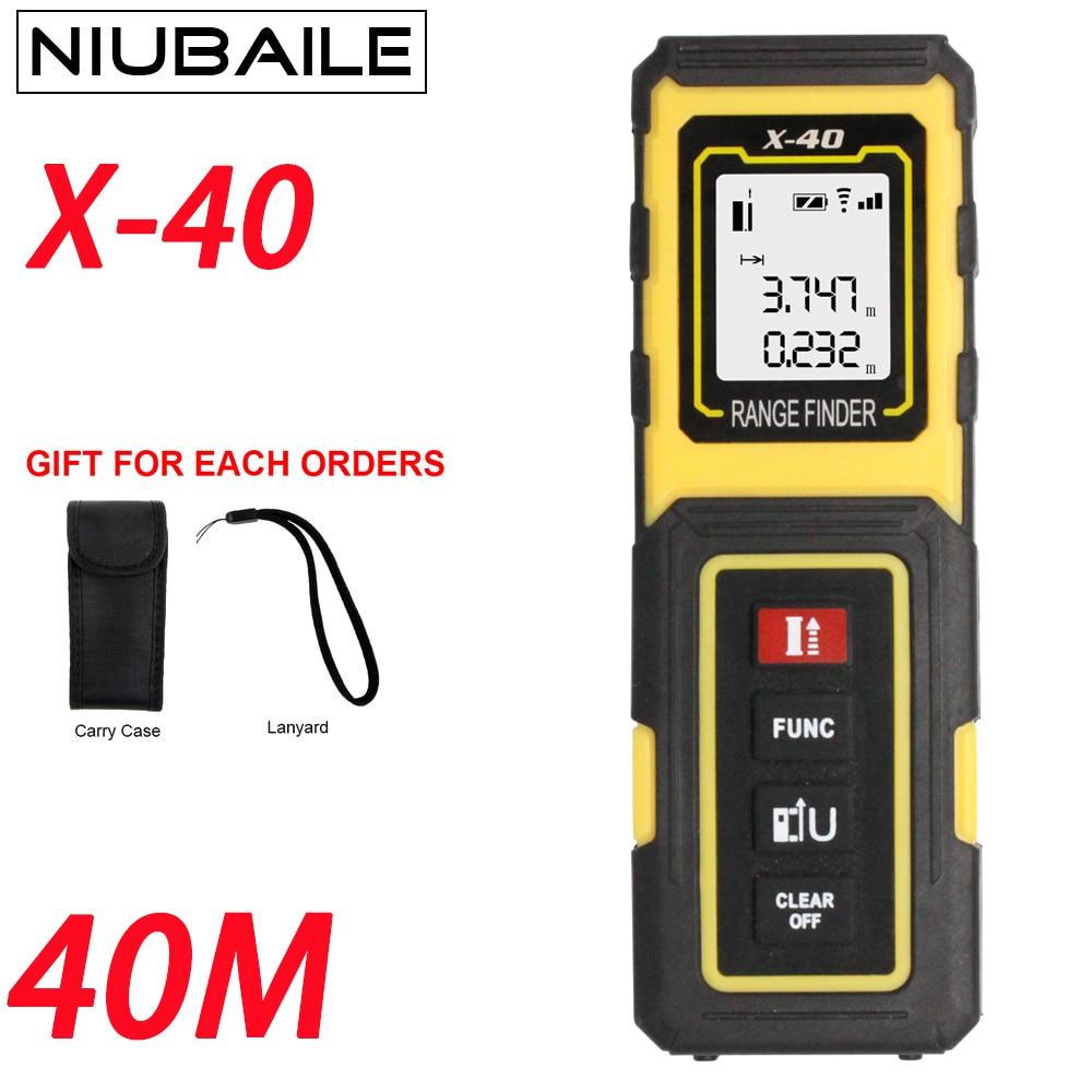 Niubaile 40 m Telémetros láser Cintas medición regla electrónica mini portátil laser medidor de distancia area-volumen-ángulo x40-zm-y