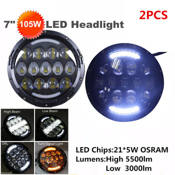 DOT Approval 7'' inch headlamp 105W LED Projector headlight headlamps for Jeep Wrangler Off Road 4x4 Trucks harley Motorcycle