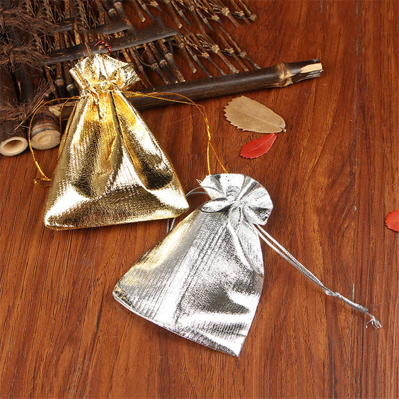 Wholesale 500pcs/lot Gold Silver Satin Bags 9x12cm Cute Watch Jewelry Packaging Bags Wedding Favors Drawstring Candy Gift Bag
