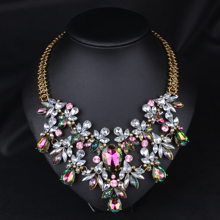Colorful Crystal Necklace Fashion Statement Necklace Choker Necklace  Wholesale 9f704d38f1