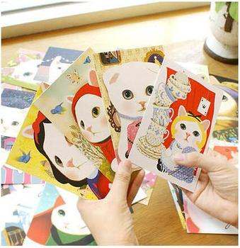 10pcs/lot lovely cartoon cats postcards cute message cards for birthday and business 1