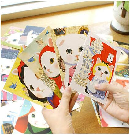 10pcs/lot Lovely Cartoon Cats Postcards Cute Message Cards For Birthday And Business