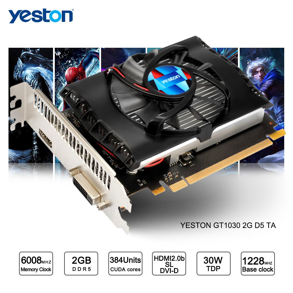 Yeston GeForce GT 1030 GPU 2GB GDDR5 64 bit Gaming Desktop computer PC Video Graphics Cards support купить