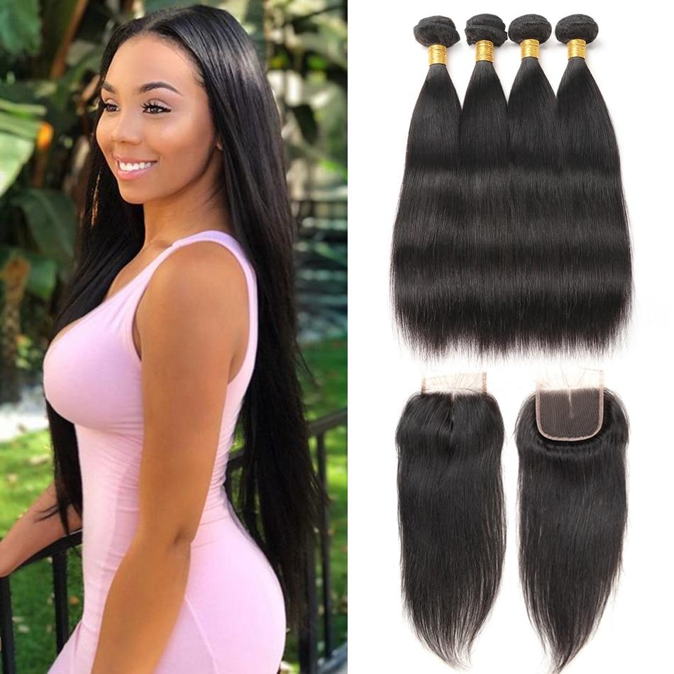 Straight Human Hair Bundles With Lace Closure Brazilian Hair Weave Bundles With Closure Alimice 3 Bundles
