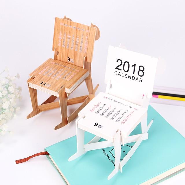 Creative Cute Trojan Horse Modeling Calendar Chair Style Planner 2018 Office Supplies