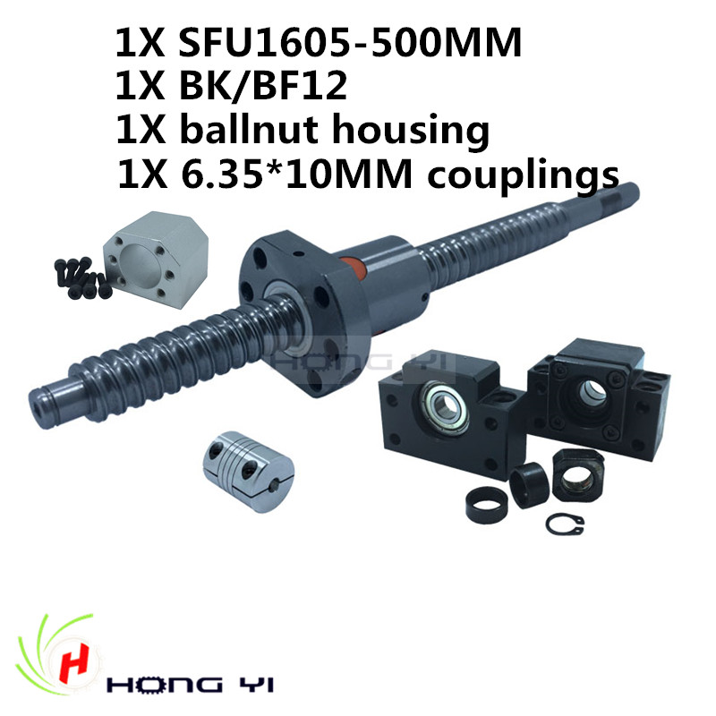 Rolled Ballscrew assembles 1 set SFU1605 -L500mm+BK12 BF12 Ballnut end Support +1605 Nut Housing Bracket+ 6.35*10mm couplers CNC rolled c7 ballscrew 1605 700mm ballscrew with metal deflector ballnut bk12 bf12 support coupler