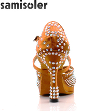 SamisolerDance Latin Shoes High Heels with Platform Bronze Dance Full Rhinestone 6-10cm Square For Women