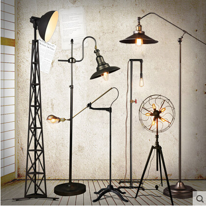 Loft Country Industry Vintage Floor Lamps With Edison Bulbs