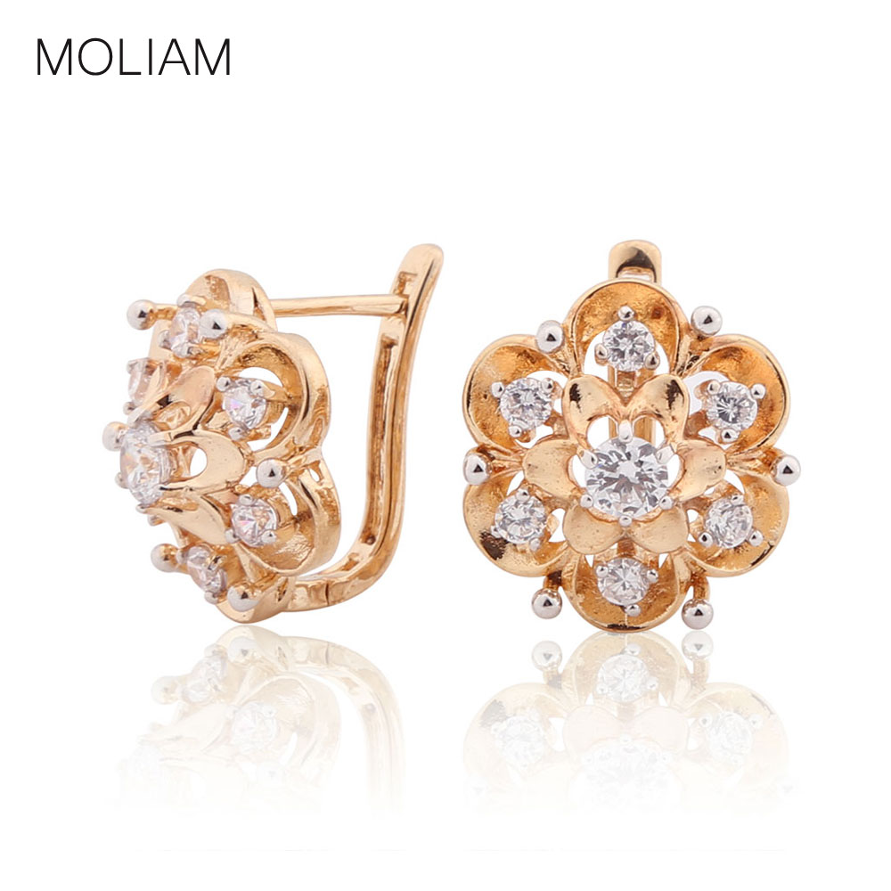 MOLIAM Newest Exquisite Flower Hoop Earing Fashion Jewelry AAA Zirconia Stones Earrings for Women Valentine s Day Gift MLE193