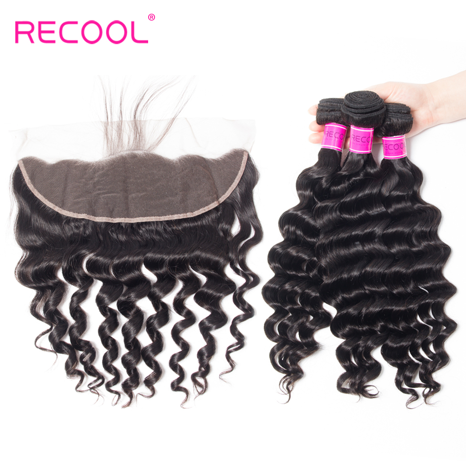 Recool Loose Deep Lace Frontal Closure With Bundles Peruvian Hair Weave Bundles 4Pcs Lot Remy Human
