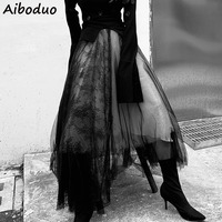 Women Fashion Asymmetric Patchwork Bandage Punk Club Sexy Cool Black Long Skirt Mesh Lace Stitching Flower Gothic Skirt 2019