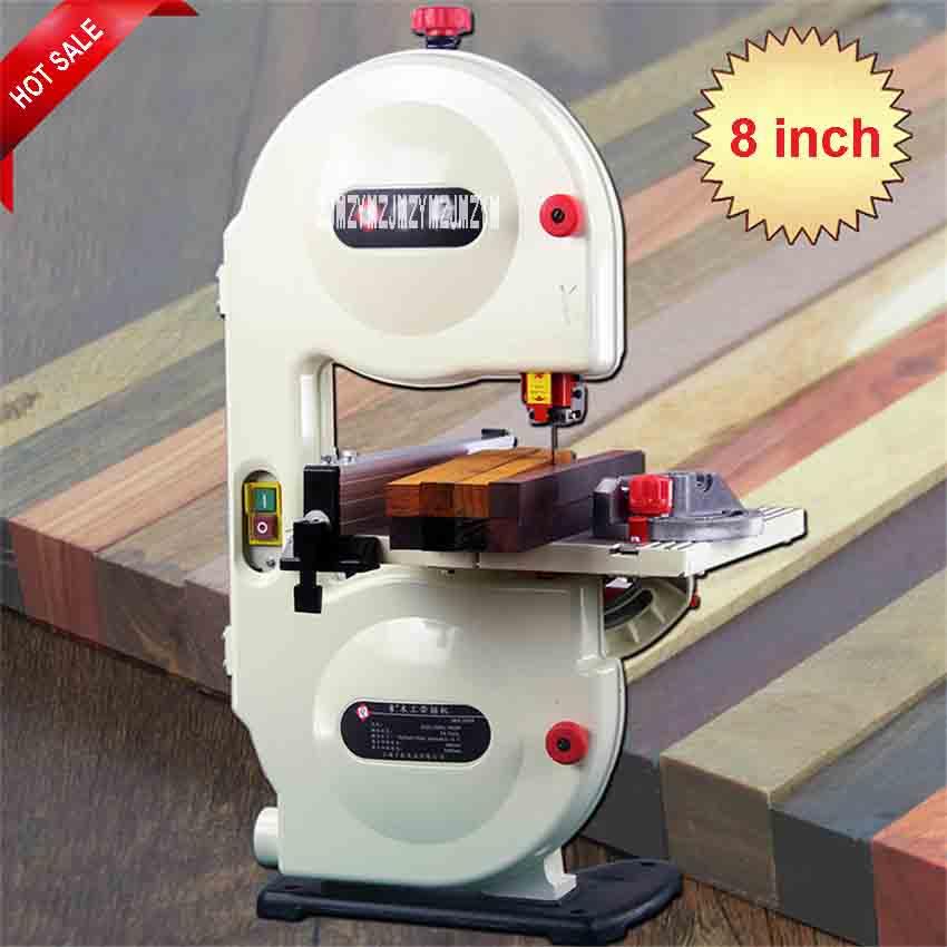 Aletler'ten Testere Makineleri'de 8 inç Ağaç İşleme Şerit Testere Makinası MINI Metal Elektrikli Eğrisi Testere Küçük Dikey Ev Buda Boncuk Kesme Makinası 220 V 350 W