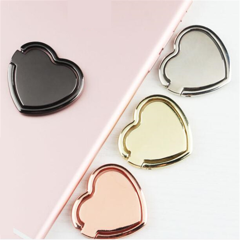UVR Reuse Metal Luxury Heart Lover Gift Finger Ring Smartphone Stand Holder Mobile Phone Holder Stand For IPhone All Phone