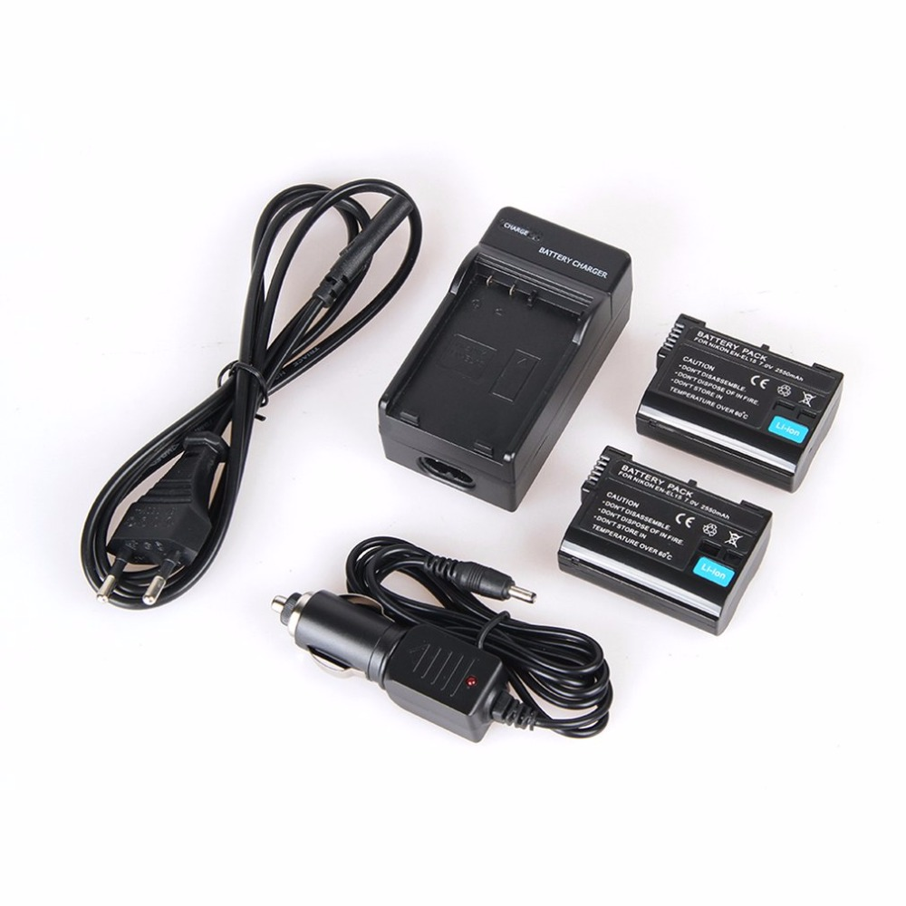 2pcs 2550mAh EN-EL15 EL15 Camera Battery + Charger +Car Cable For Nikon D7000 D7100 D800 D800E D600 D610 D810 D500 D7200 V1