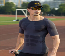 2015 Fashion quick dry Mens muscle shirt Tights Compression workout Fitness Crossfit T Shirt body building
