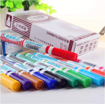 Hot sale 600 Extra Fine Marker Pen1 mm Alcohol Base Ink 12 Colors Permanent Mark On Film/Wood/Cloth/Metal/Glass