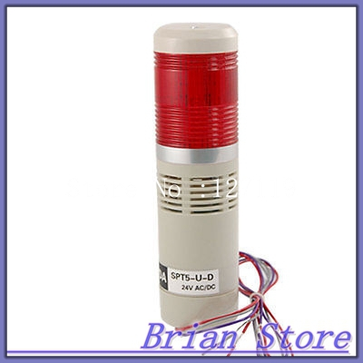 Red LED Indicator Industrial Buzzer Warn Signal Tower Lamp Light AC/DC 24V 90dB