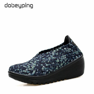 Image 2 - dobeyping Spring Autumn Shoes Woman Hand Woven Flat Platform Women Shoes Thick Heel Womens Loafers Wedges Ladies Swing Shoe