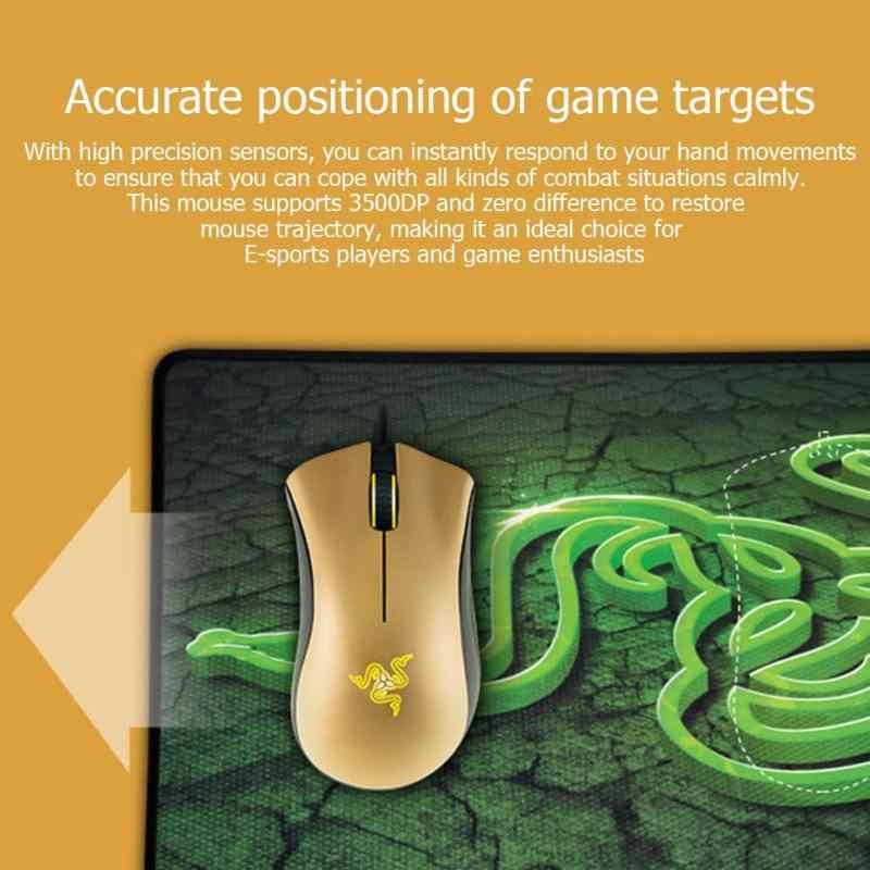 Razer Deathadder のマウス有線ゲーミングマウス 3500 DPI 光学式 Pc のマウスゴールド 3.5 グラム光学センサーレーザーため Mices lol ゲーム