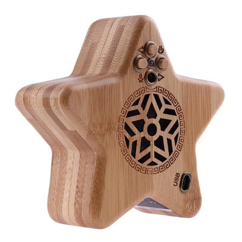 Bluetooth Speaker Bamboo Five-pointed Star Wireless Bluetooth Speaker Sound Box Loudspeaker Music Subwoofer with Microphone jy 3 outdoor wireless bluetooth speaker loudspeaker music speaker