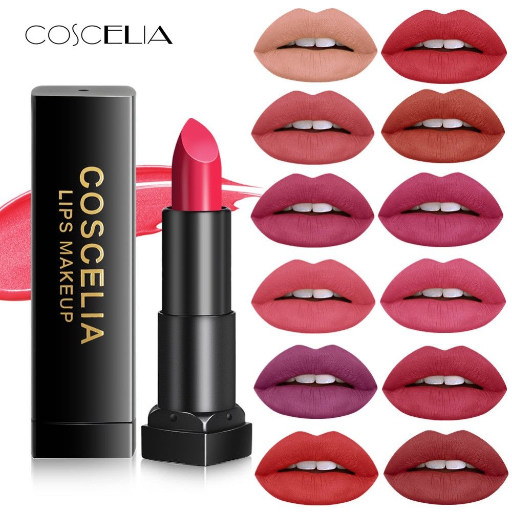 COSCELIA Waterproof Nude Matte Velvet Glossy Lip Gloss Lipstick Lip <font><b>Sexy</b></font> Red Lip Tint <font><b>12</b></font> Colors Women Fashion Makeup Gift image