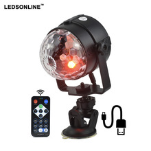 IR Remote RGB LED Crystal Magic Rotating Ball Stage Light 4m USB 5V Colorful ktv DJ light disco Party Effect