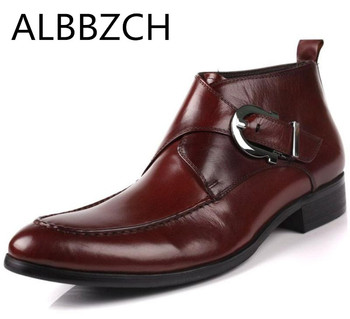 Men Boots Leather Short Boots British Style Wedding Dress Shoes Men Business Work Boot Motorcycle Short Boots Casual Ankle Shoes