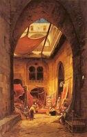 Hermann David Solomon Corrodi Yağlıboya repro Arap Halı Tüccarlar